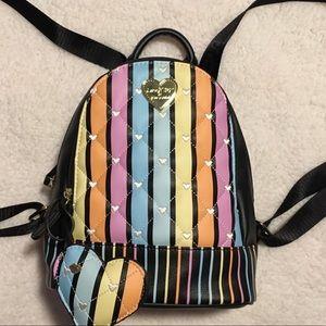 ❤️ Luv Betsey Johnson Rainbow Heart Mini Backpack